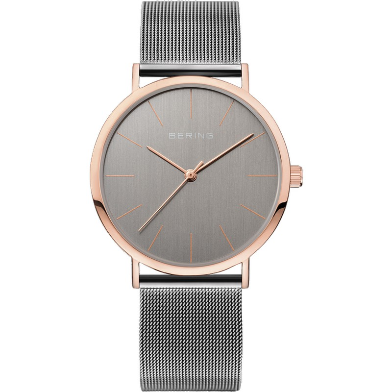 diseño atemporal d3541 be9a1 Reloj Bering Minimalista Mujer Gris Detalles Rosados