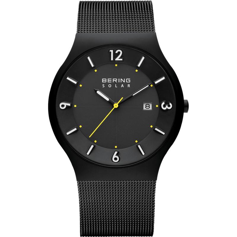 Reloj Bering Moderno Solar Negro para Hombre con Detalles Amarillos ... 7e0f6cf971cb