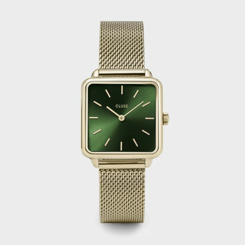 cf0924fed Reloj La Carçonne Mesh Gold/Forest Green de Cluse — Trens Joies